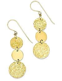 IceCarats 14k Yellow Gold 3 Tier Circle Drop Dangle Chandelier Earrings