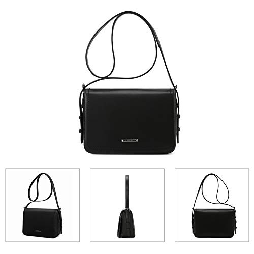 Shoulder ECOSUSI Black Large Pocket Front Strap Shoulder with Bags Adjustable nbsp;Purse amp; Fashion Women��s Crossbody Flapover wt4qTgrt