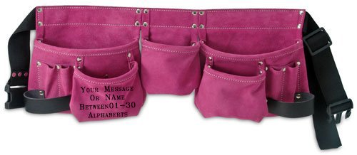 Rockyjack Custom Personalized Pink Print Anything Name Or Message Leather Tool Belt 11 Pocket