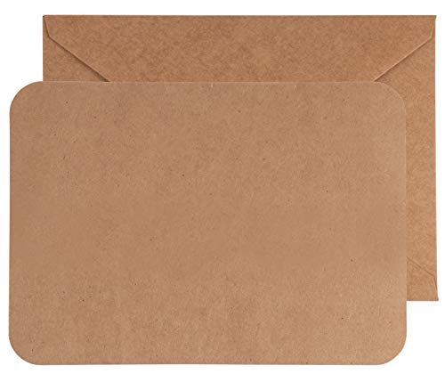 "48-Pack Blank Greeting Cards with Envelopes 5 x 7"", Kraft Brown Plan Postcard Style for DIY Card Making, Wedding Invitations, Graduation & Any Occasions"