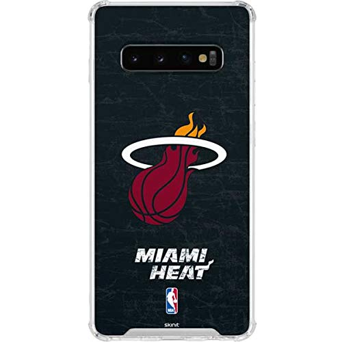 Skinit Miami Heat Black Partial Logo Galaxy S10 Clear Case - Officially Licensed NBA Phone Case - Transparent Galaxy S10 Cover