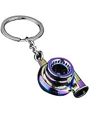 TOSSPER Metall nyckelring rolig polerad turbocharger nyckelbricka hantverk hänge nyckelring bildelar nyckelring för pojkvän