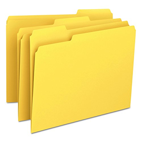 Smead File Folder, 1/3-Cut Tab, Letter Size, Yellow, 100 per Box -
