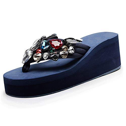 Drem-wardrobe Flip Flop Women Slippers Beach Shoes Platform Sandals Women Women Ladies Girls Solid Wedges,Dark Blue,8 ()