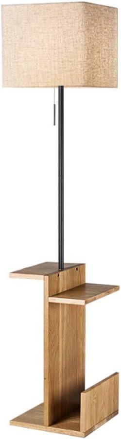 Floor Light Floor Lamp With Shelves, Wooden Shelf Standing Light, Modern Reading Lamp For Bedroom, Living Room Home Standing Lamp Standing Pole Light (Color : Linen)