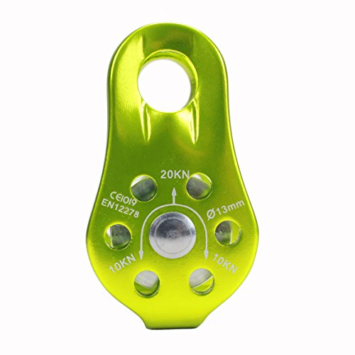 Geelife 20KN Climbing Micro Pulley General Purpose Aluminum Pulley For Rescue/Aloft Work/Rappelling Etc. (Green, Single (Climbing Pulleys)