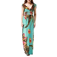 Wantdo Women's Printed Bohemian Summer Maxi Dress Plus size