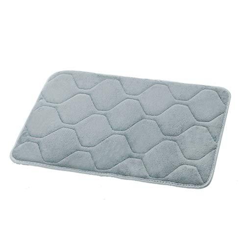 Non-Slip Bathroom Rug Rectangle Memory Foam Bedside Rug Super Absorbent Bath Mat Cozy Doormats 60x40cm for Kitchen Bathroom Entryway (Gray)