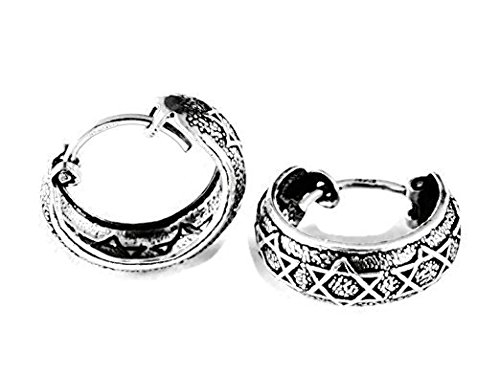 Greek Key Circle Pendant - 925 Sterling Silver Huggie Earring Vintage Fashion Filigree Hoop Teen Women Men 9/16