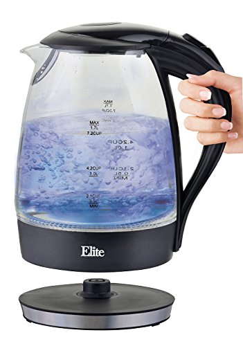 Maxi-Matic EKT-300 Elite Platinum 1.7 L Cordless Electric Tea Kettle, Black