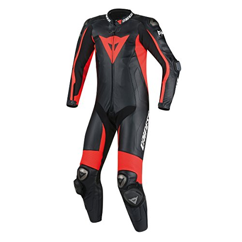 Price comparison product image Dainese D-Air Misano Airbag Perforated Leather Race Motorcycle Suit Black / Black / Fluo Red Size Euro 58 / US 48