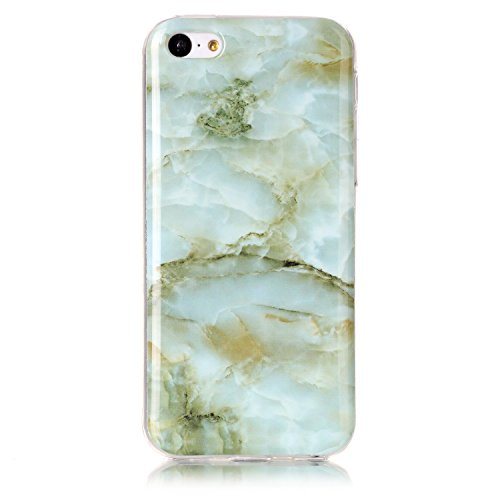 Silicone Soft TPU Floral Pattern Case for iPhone 5C (Green) - 6