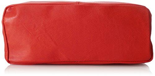 à véritable Made in Rouge cuir la 100 CTM Rosso sac fermeture bandoulière main femme à dans sac Italy 41x55x12cm en éclair wx6Eqa