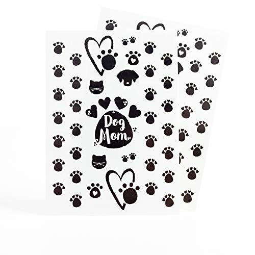 Pet Living Temporary Tattoos - Pet Lovers Dog or Cat - For Women & Girls - 24 Designs - Whimsy Collection [Color: Black]