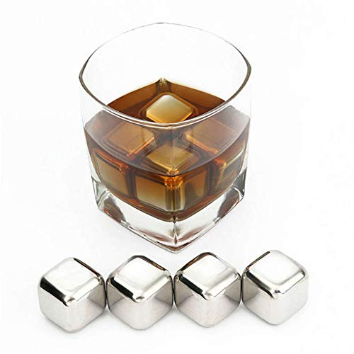 weiadinga Square Stainless Steel Ice Tartar Stainless Steel Reusable Ice Cubes Chilling Stones with Tongs for Whiskey Wine 1 pack 2 packs 4 packs 6 packs (6)
