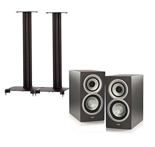 Elac BS Uni-Fi U5 (Pair) Bookshelf Speakers And Sanus SF30-B1 (Pair) 30-inch Bookshelf Speaker Stands - Black