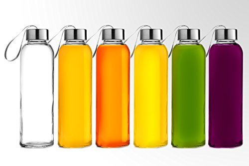 Chef's Star Glass Water Bottle 6 Pack 18oz Bottles For beverages and Juicer Use Stainless Steel leak proof Caps With Carrying Loop Including 6 Black Nylon Protection Sleeve