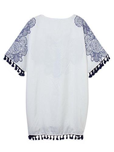 Femmes Cru Motif Col V Imprimé Plage Pompon Mini-robe
