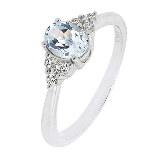 - Sterling Silver Oval Cut Natural blue Aquamarine Statement Ring