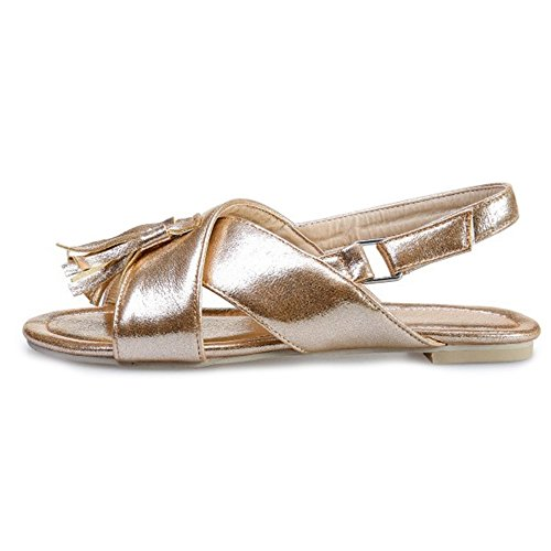 SJJH Flat Sandals with Shiny Materail and Large Size 11 UK for Fashion Girls Leisure Flats Gold FfaKMuCG
