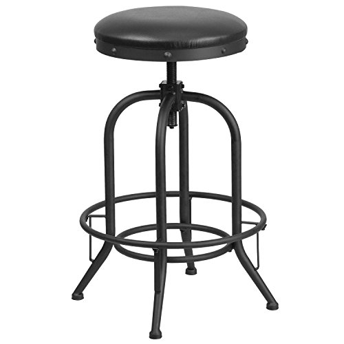 Flash Furniture 30 Barstool with Swivel Lift Black Leather Seat