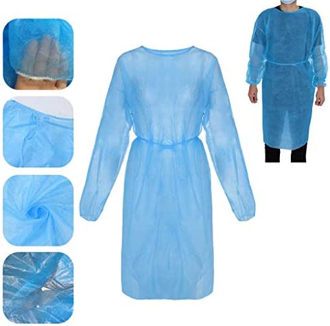 10 Pack Disposable Protection Gowns, Adult Universal Isolation Non-Woven Aprons, Blue Protective with Long Sleeves, Neck and Waist Ties for Non-sterile Examinations, Disposable Lab and Visitor Coat