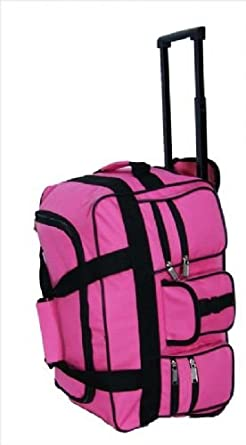 Airline Cabin Size Hand Luggage Carry On Cabin Bag Holdall Trolley. Womens  and Mens Girls (PINK Twin Handle Wheeled Holdall 18
