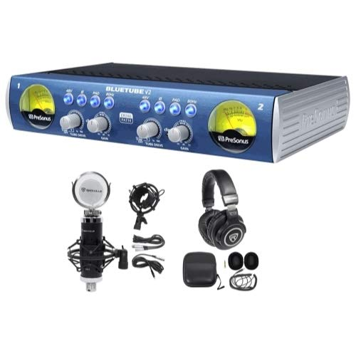 Presonus Bluetube DP V2 2-Channel Tube Mic Pre-Amp DP2+Mic+Shockmount+Headphones