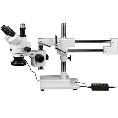 AmScope SM-4TX-144A Trinocular Stereo Microscope, WF10x Eyepieces, 3.5X-45X Magnification, 0.7X-4.5X Objective Power, 0.5X Barlow Lens, 144-Bulb Ring-Style LED Light Source, Double-Arm Boom Stand, 110-240V