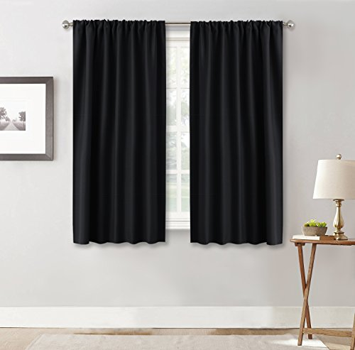 Black Curtain Panels for Nursery - RYB HOME  Soft Solid Ener