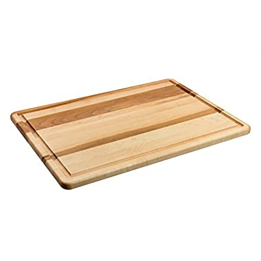 Maple Wood Cutting Board - Large Professional Chopping Surface for Meat and Vegetables - Heavy Duty for Carving, Dicing & Prep - Contains Drip Grooves or Reversible, Naturally Anti-Bacterial 18x12
