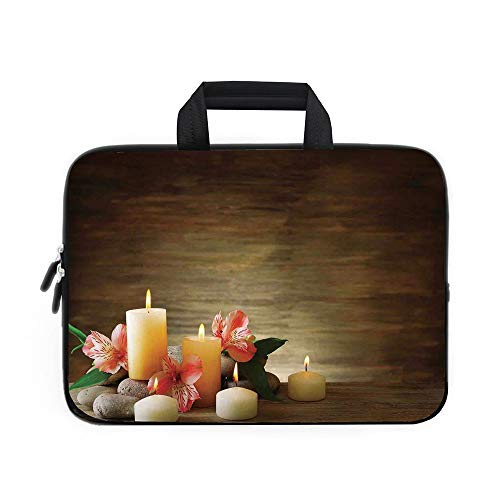 Wheeled Bag Icon Computer (Spa Decor Laptop Carrying Bag Sleeve,Neoprene Sleeve Case/Spa Composition with Many Candles Wellbeing Unity and Neutrality Icons Calm Happiness Home Decor/for Apple MacBook Air Samsung Google Acer HP)