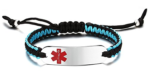 JF.JEWELRY Two-Tone Nylon Rope Handmade Medical ID Alert Bracelet Stainless Steel Tag Custom Engraved-Red by JF.JEWELRY (Image #5)
