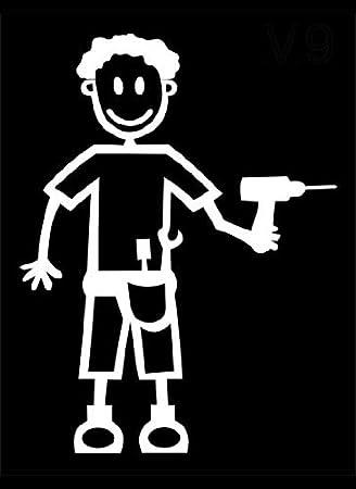 My Stick Figure Family Familie Autoaufkleber Aufkleber Sticker Decal Vater Bauherr Heimwerker M9 Auto