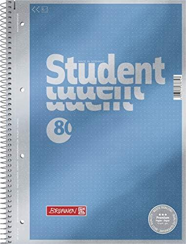 Brunnen 1067147 Notizblock/Collegeblock Dotted Premium Deckblatt, 5 Stück cyan-metallic
