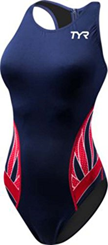 TYR 404WWPBD6A30 Women's Phoenix SP Destroyer Water Polo Suit, Navy/Red, Size 30