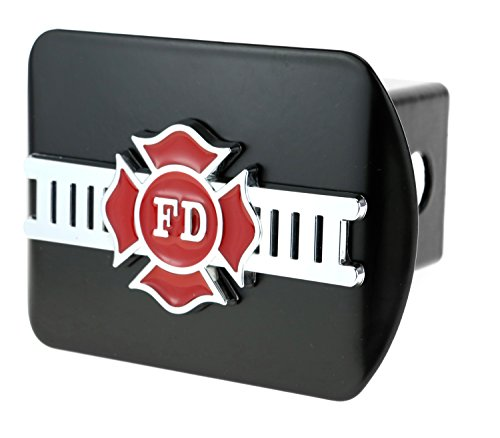 (HitchCover FD Fire Department 3D Chrome Emblem on Black Trailer Metal Fits 2