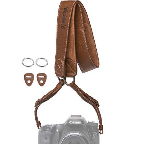 Inspire in Time Camera Neck Strap - Genuine Leather Adjustable Straps Universal Interfaces Mirrorless DSLR Cameras, Nikon, Canon, Sony, Olympus, Panasonic, Fuji & More, Brown ()