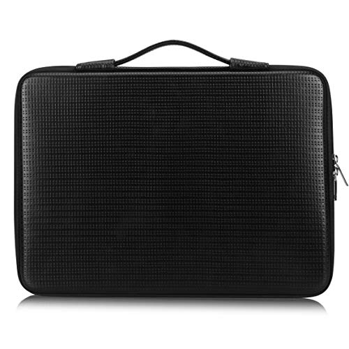 FYY 13.5-15 [Waterproof Leather] [Solid Hard Shape] Laptop Sleeve Bag Case with Inner Tuck Net Fits All 13.5-15 Inches laptops, MacBook Pro, Notebook, Surface Book Black
