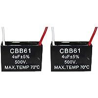 CompStudio 2Pcs 4UF 500V CBB61 Ceiling Fan Capacitor 2 Wire 50/60Hz