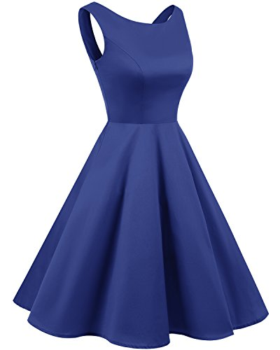 Bridesmay Vintage Dress Retro Lace Rockabilly Audrey Blue Royal 1950s Cocktail Back Dress up rrqxdv8wa