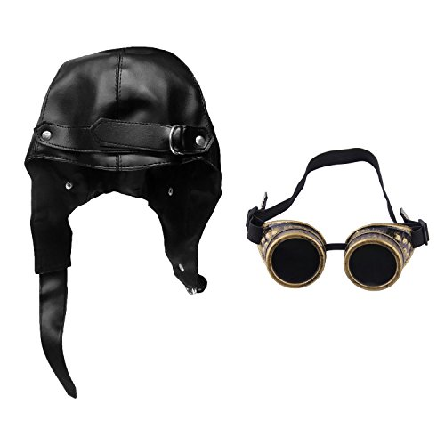 Faux Leather Aviator Black Steampunk Bomber Pilot Hat & Bronze Steampunk (Replica Big Pilot)
