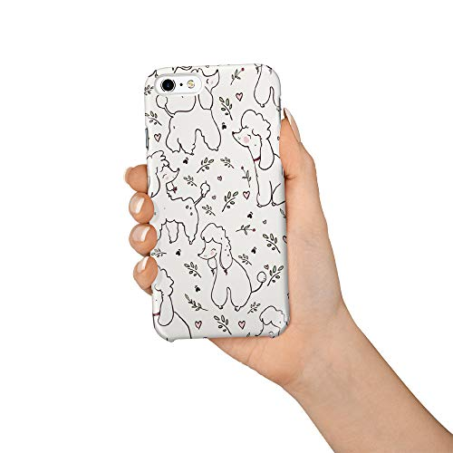 Compatible with iPhone 6 Case and iPhone 6s Case, Hard PC Back Phone Case with Tempered Glass Screen Protector Simple Design Poodle with Plant Shockproof Protective Cover