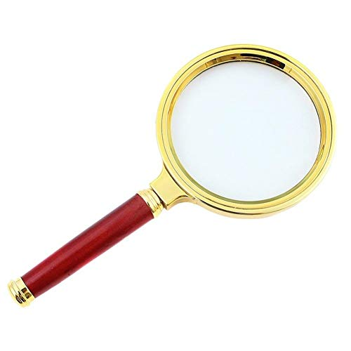 (Handheld Reading Magnifier 80MM Optical Magnifier 10 Times Ultra -Clear Mahogany (Color : 80MM, Size : Gold))