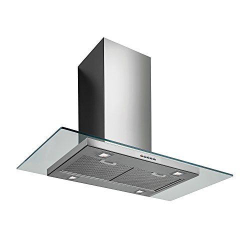Futuro Futuro Venice 36 Inch Island-mount Range Hood, Slim Steel and Glass Design, LED, Ultra-Quiet, with Blower