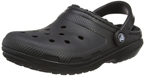 Crocs Unisex Classic Lined Clog,Black/Black,8 US Men / 10 US Women