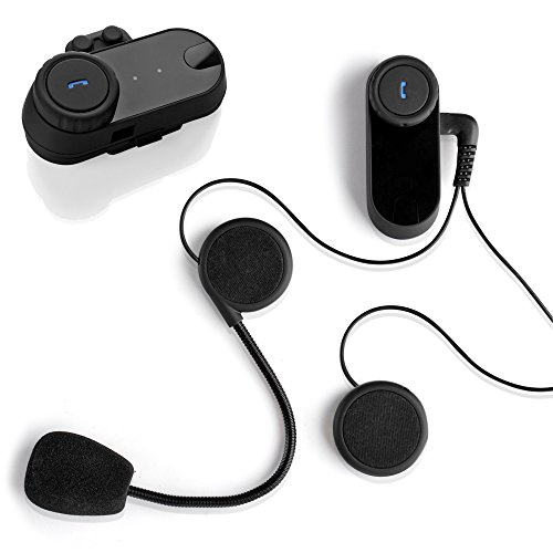 Flexzion Motorcycle Bluetooth Headset Intercom Full Face Helmet BT Interphone Earbud Auto Kit Wireless Accessory 800m Communication Range for Motorbike Scooter SKI ATV Sports