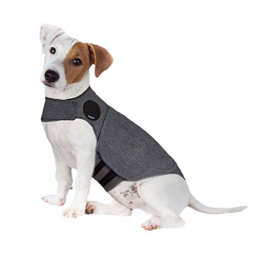 Thunder Dog Anxiety Jacket Anti-Anxiety Shirt Stress Relief Keep Calm Clothes, Heather Gray (S) (Best Thunder Jacket For Dogs)