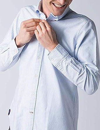 El Ganso Colección Urban Basic, Camisa Oxford de Rayas, para Hombre, Manga Larga, Cuello de Boble Botón, Talla S, Azul Claro: Amazon.es: Ropa y accesorios
