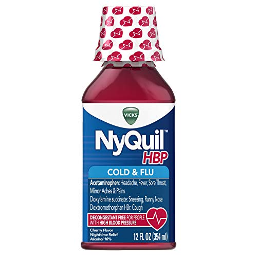 Vicks NyQuil, High Blood Pressure Cold & Flu Medicine, Relieves Headache, Fever, Sore Throat, Minor Aches & Pains, 12 Fl Oz, Cherry Flavor (Best Decongestant For High Blood Pressure)